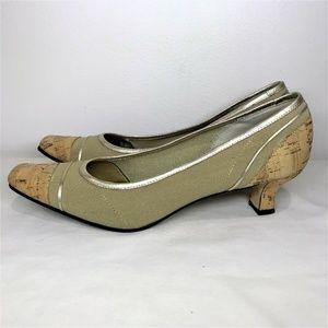 Vaneli Shoes - (SOLD)Vaneli Kitten Heel Cork Taupe Silver Shoes